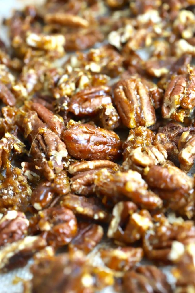 Closeup shot of Quick and Easy Stovetop Candied Pecans
