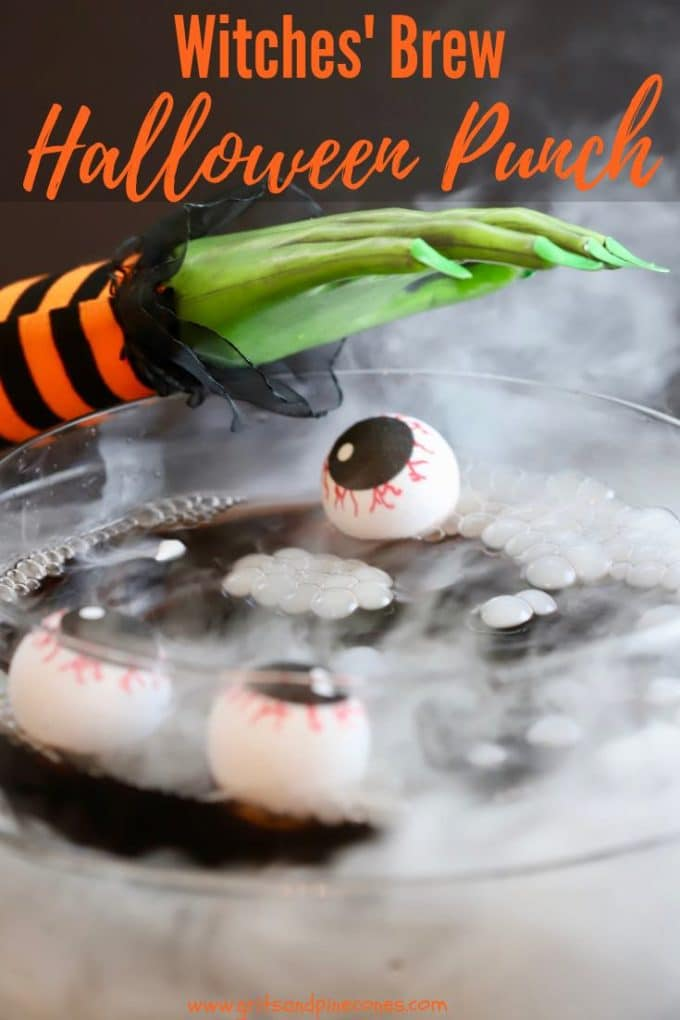 Spooktacularly delicious, and easy Witches' Brew Halloween Punch will take the fear out of hosting a Halloween party and set the stage for a fun evening full of ghosts, and spooky Halloween party food and drinks. And, with my simple directions, and a little dry ice, the only thing scarier might be just how much of this witches' brew cocktail you might consume...includes alcoholic for adults and non-alcoholic for kids recipes.