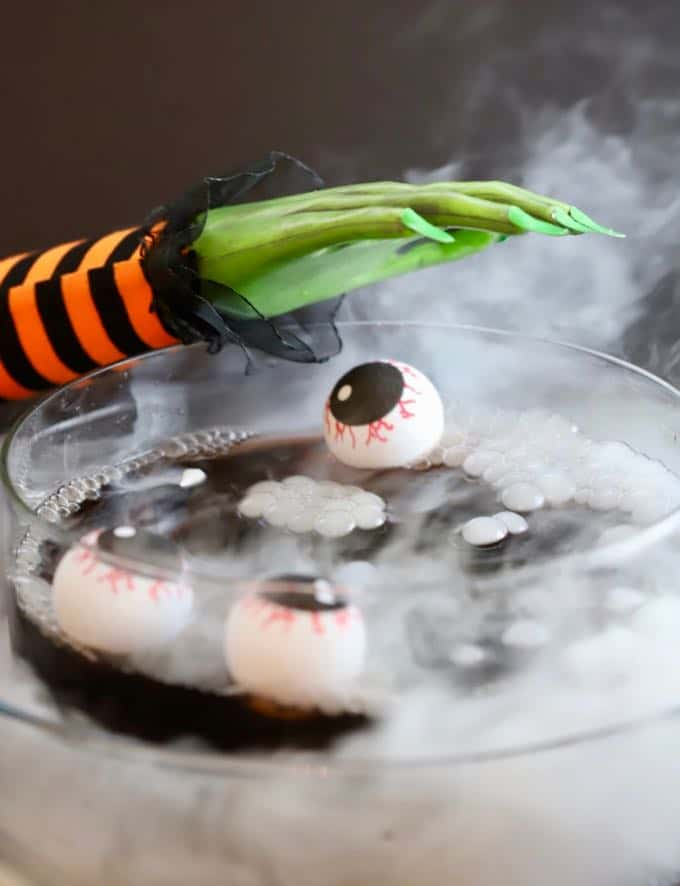 Witches' Brew Halloween Punch with dry ice