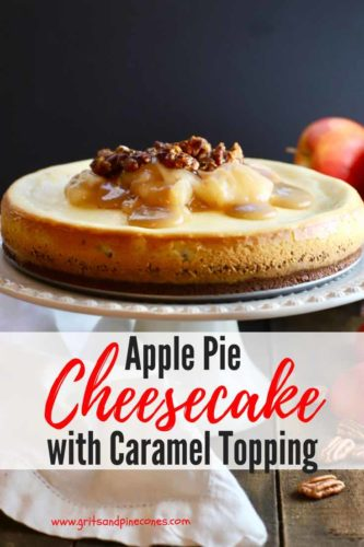 Apple Pie Cheesecake with Caramel Topping