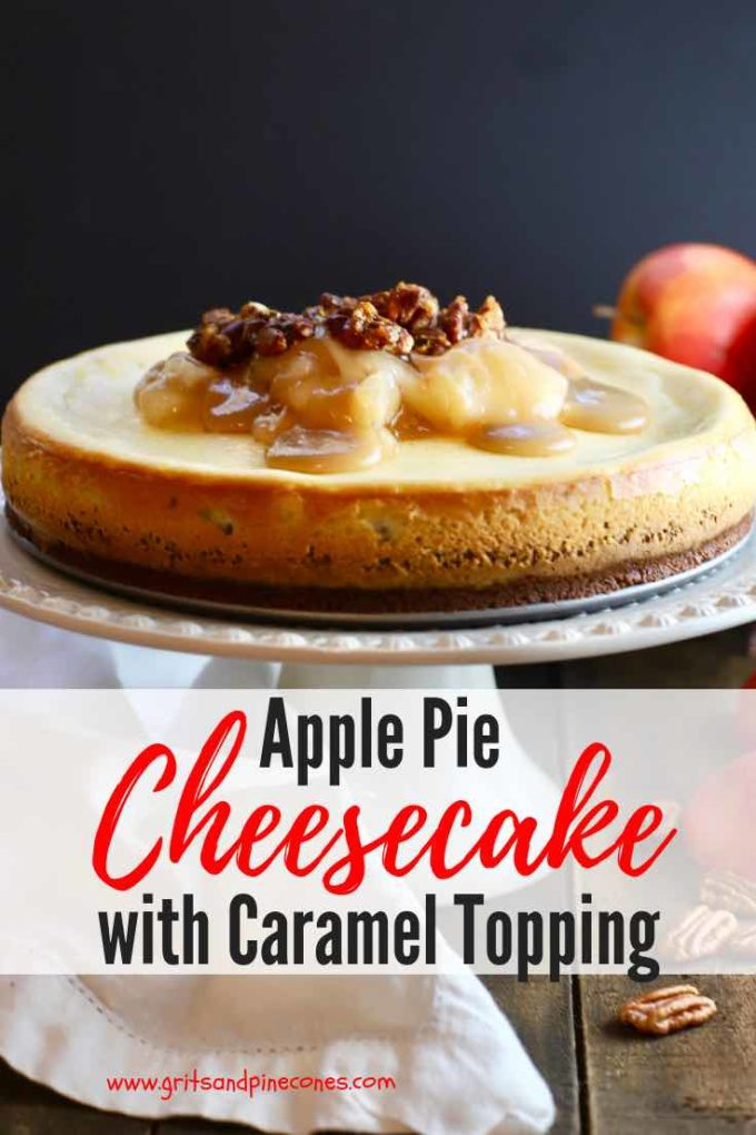 Say yes, to Apple Pie Cheesecake with Caramel Topping for a sweet ending to your holiday meals, and be prepared to be blown away by all of the flavorful layers and textures tucked into this delicious dessert! #thanksgivingdesserts, #cheesecake, #thanksgivingrecipes, #dessertrecipes, #cheesecakerecipes