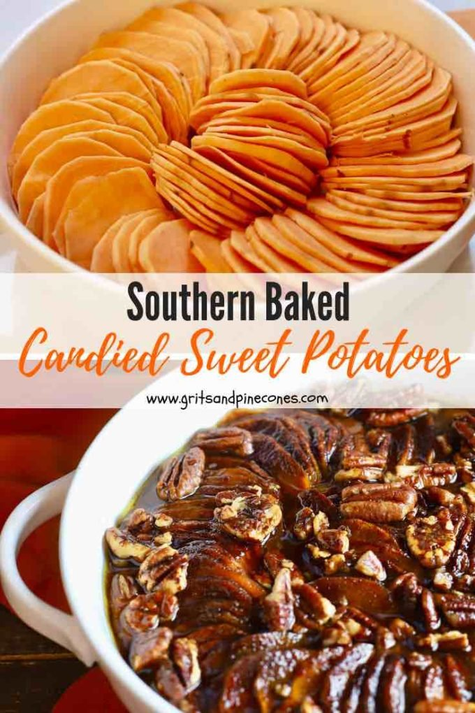 Easy Baked Southern Candied Sweet Potato casserole features thinly sliced sweet potatoes, covered with brown sugar, cinnamon, nutmeg, and ground cloves, and topped with sweet creamy butter and candied pecans. This easy classic Thanksgiving and Christmas casserole recipe comes together quickly and is both decadent and delicious! #sweetpotatorecipe, #thanksgivingsides, #thanksgivingrecipes, #christmassides, #christmasrecipes