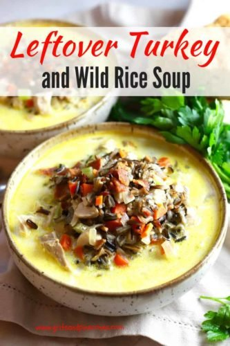 Creamy Leftover Turkey and Wild Rice Soup Pinterest pin