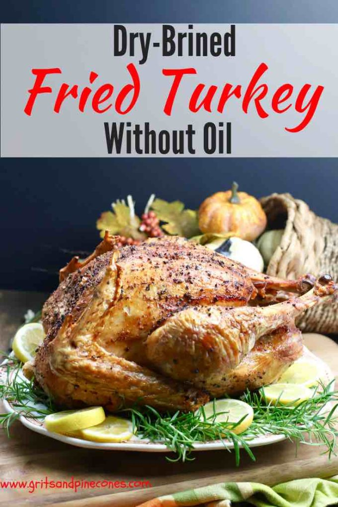 Dry Brined-Fried Turkey without Oil, crispy outside, juicy inside, a recipe for an easier, faster and healthier way to deep fry a turkey in an oil-less turkey fryer. Dry brining adds flavor and moistness throughout and cajun seasoning spices things up ever so slightly for a Thanksgiving turkey you will never forget! #thanksgiving, #thanksgivingturkey, #fried turkey, #thanksgivingrecipes, #turkey