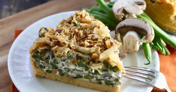 Green Bean Pie with Ritz Cracker Crust image sized for social media