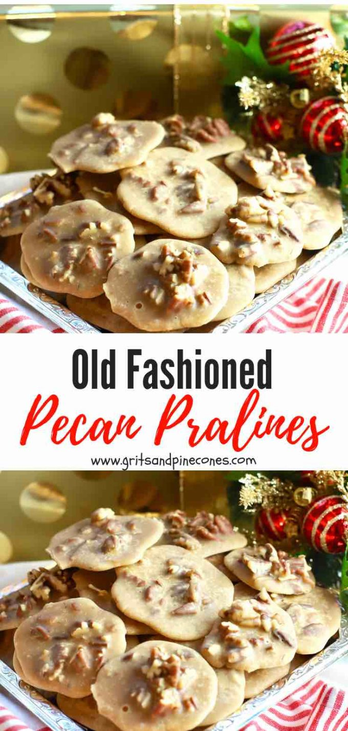 Easy Old-Fashioned Pecan Pralines are a classic Southern candy, and these luscious crunchy bites of heaven taste a little like a combination of creamy butterscotch and caramel all wrapped up in a sugary, fudgy package. Homemade pralines packaged in a Christmas tin would make an exceptional gift for the foodies in your life or a coveted hostess gift.