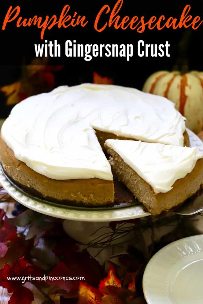 With a crunchy homemade gingersnap and pecan crust, a layer of rich, creamy pumpkin cheesecake with warm spices, and a layer of thick, silky, cream cheese icing, this decadent Pumpkin Cheesecake with Gingersnap Crust is the ultimate sweet ending to your Thanksgiving or Christmas dinner!  #thanksgivingdesserts, #christmasdesserts, #dessertrecipes, #pumpkincheesecake