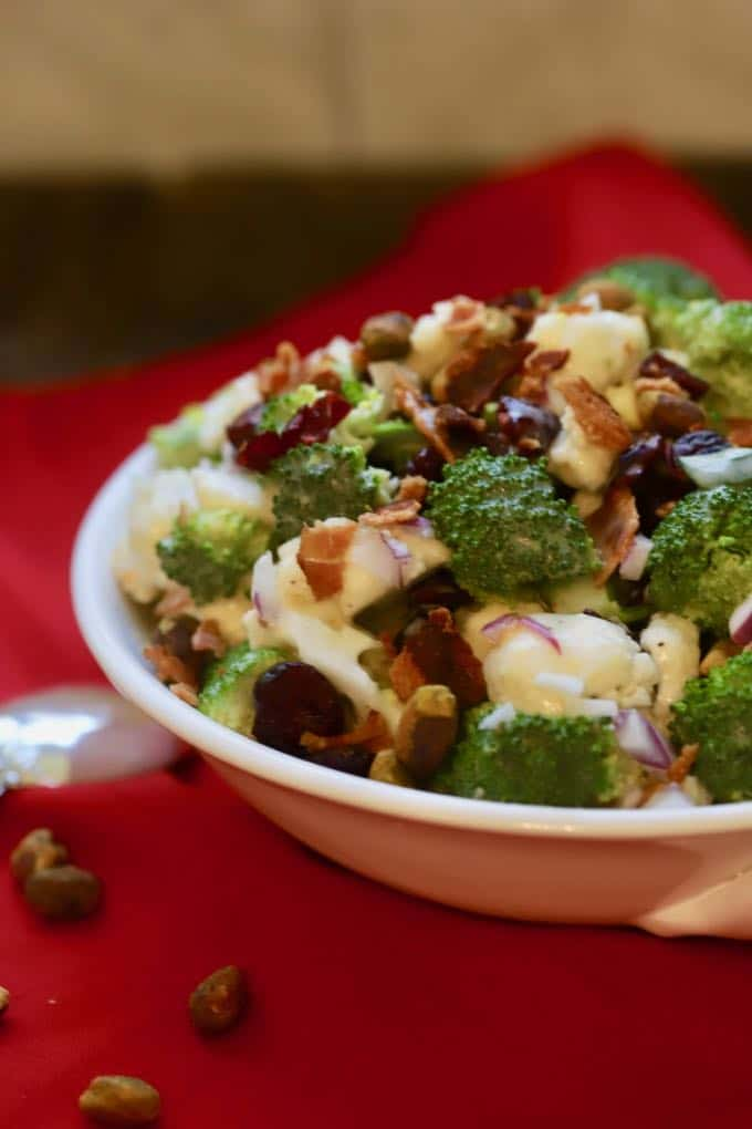 Broccoli Cauliflower Salad with Cranberries