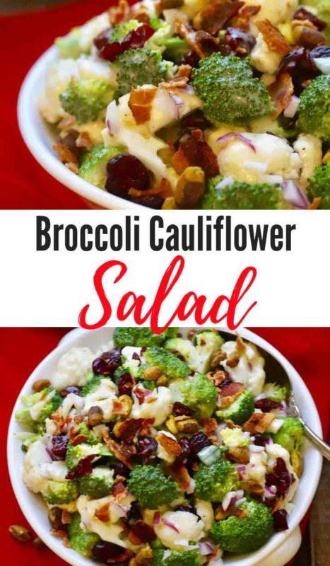 Broccoli Cauliflower Salad with Cranberries Pinterest Pin