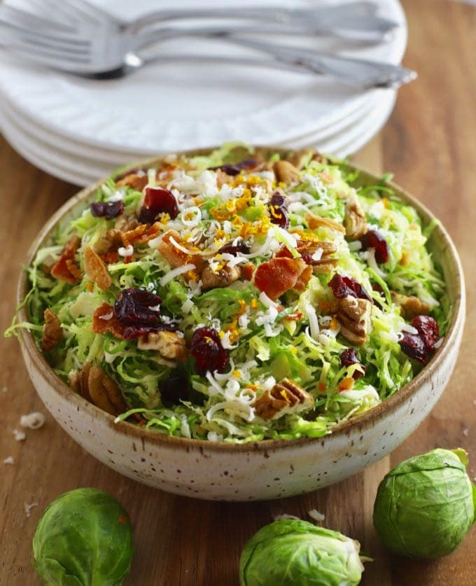 Brussel Sprout Salad with Citrus Vinaigrette in a bowl.