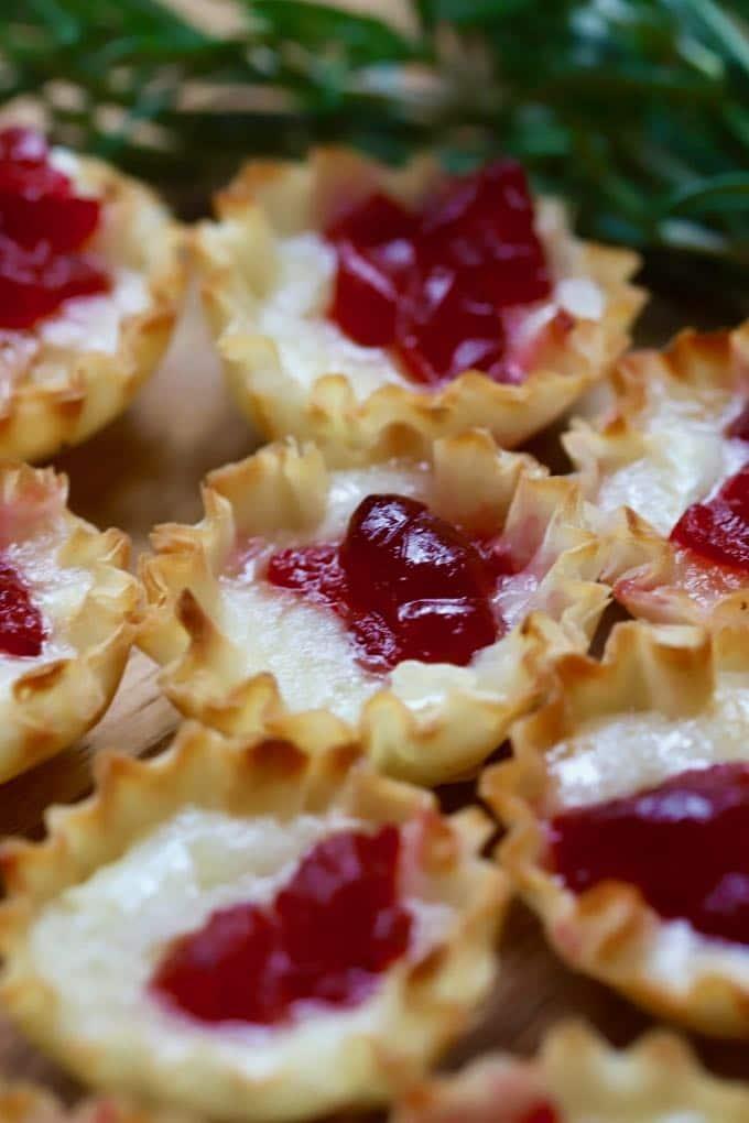Close up shot of Cranberry Brie Bites
