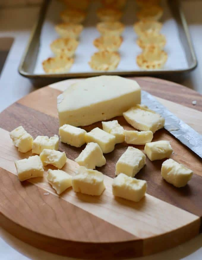 Brie cut into small cubes for Cranberry Brie Bites
