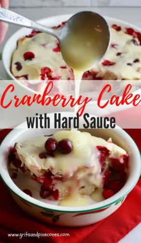 Cranberry Cake with Hard Sauce Pinterest pin