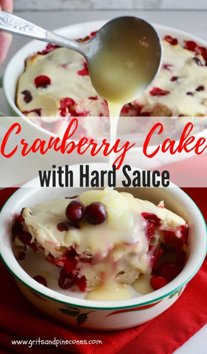 A beautiful and festive dessert, Easy Cranberry Cake with Hard Sauce will make a unique sweet ending for your Christmas meal. Full of fresh tart cranberries, this cake has it all; the colors of the season, a winning combination of flavors and textures, and the creamy, blissful yumminess of a decadent hard sauce. #christmasdessert, #cranberrydesserts
