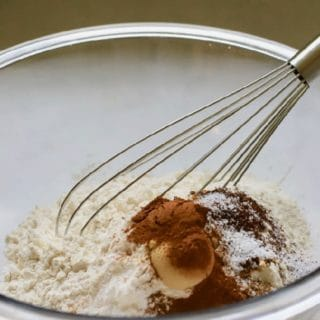 Flour and other dry ingredients for Gingerbread Cake with Cream Cheese Icing