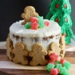 Gingerbread Cake with Cream Cheese Icing with Christmas candy.
