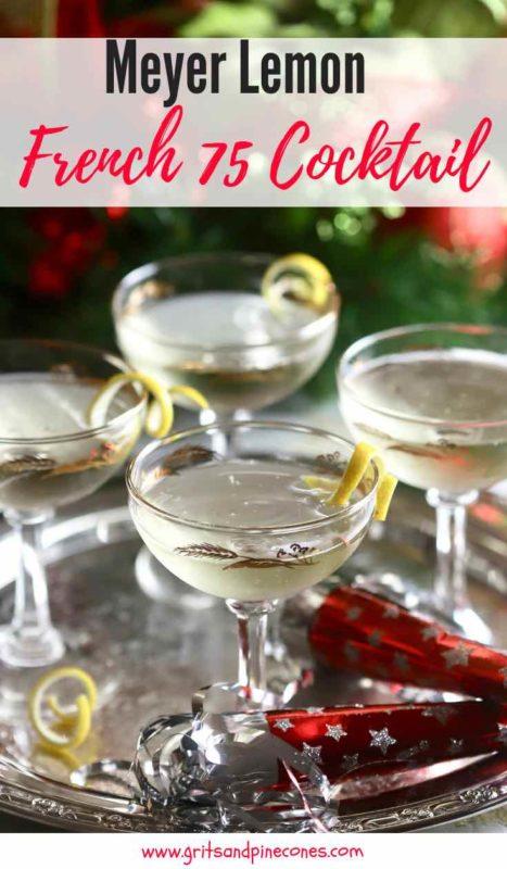 Meyer Lemon French 75 Cocktail Pinterest pin.