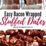 Bacon Wrapped Stuffed Dates with Almonds Pinterest Pin