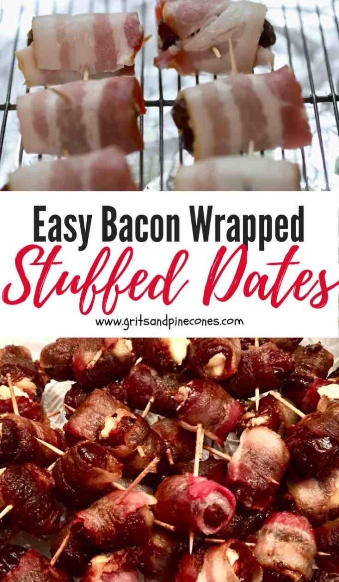 Easy Bacon-Wrapped Stuffed Dates with Almonds is a perfect appetizer to kick off a Super Bowl party or a holiday gathering for a crowd. Think about it; sweet dates, stuffed with cream cheese and crunchy almonds all wrapped up like a present with crispy smokey bacon. What's not to love? #superbowlfood, #superbowlparty, #superbowlappetizers