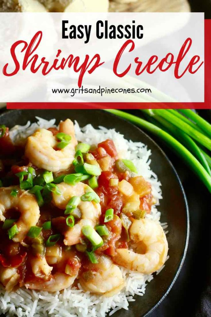 Shrimp Creole is an easy, classic entrée with fresh briny shrimp cooked in a spicy sauce made with tomatoes, spices, and the holy trinity which is onion, celery, and bell pepper. Shrimp Creole is perfect to serve at a Mardi Gras party, a quick weeknight family dinner, or a casual dinner with friends. #shrimpcreole, #shrimpcreolerecipe, #mardigrasfood