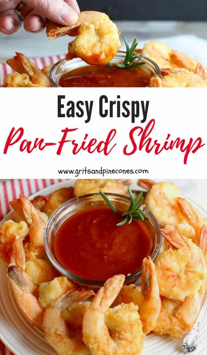 Easy Crispy Pan-Fried Shrimp are fresh, succulent, briny Gulf shrimp, lightly coated with flour and pan-fried in a small amount of olive oil until they are golden brown and delicious. This simple recipe is the best and healthiest way to fry shrimp! Try it today! #friedshrimp, #shrimprecipes