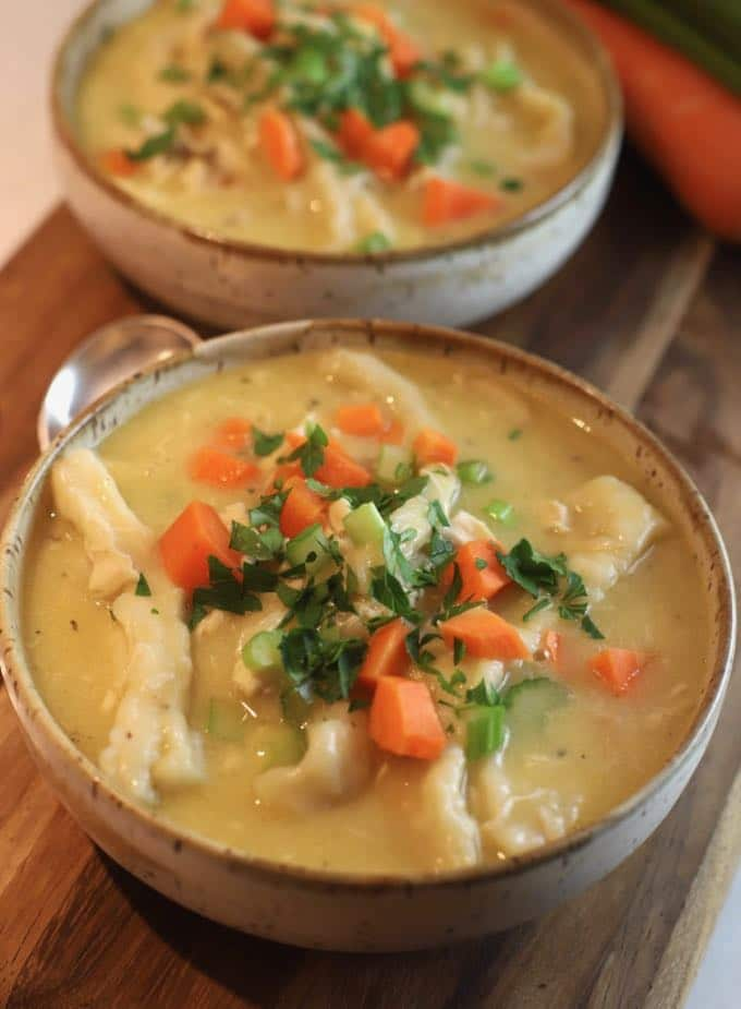 Two bowls of Easy Southern Chicken and Dumplings