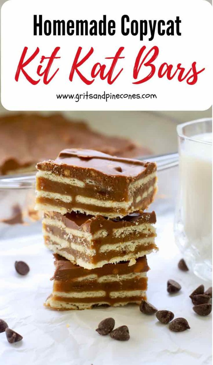 This recipe for Homemade Copycat Kit Kat Bars is probably one of the easiest and most fun recipes on my blog. These morsels are a candy bar miracle! Waverlywafers (club crackers) are combined with grahamcracker crumbs, peanut butter, butterscotch,and chocolate chips to make a delicious and whimsical bar cookie which tastes almost like a Kit Kat candy bar. #kitkatbar, #candybarrecipes