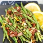 Roasted Green Beans with Bacon and Lemon Pinterest Pin