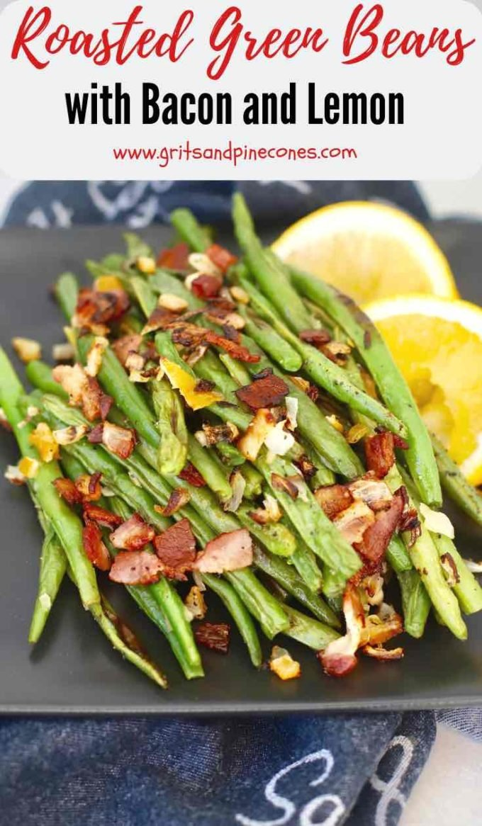 Oven-Roasted Fresh Green Beans with Bacon and Lemon is impossible not to like. Full of nutritious green beans, crispy bits of smoky bacon, and with the freshness of preserved lemon, this quick and easy green bean recipe is even more delicious than it looks. This yummy side-dish recipe is a must try! #sidedishrecipes, #greenbeanrecipes, #roastedgreenbeanrecipes