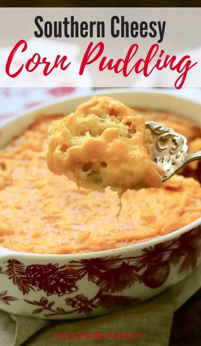 Southern Cheesy Corn Pudding Pinterest pin.