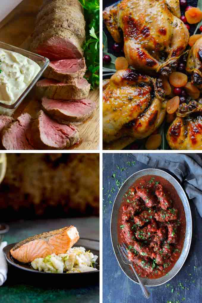 Collage of 4 main dish photos for the post 23 Easy Dinner Party recipes.