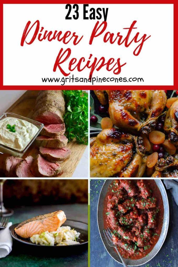 Entertaining has never been so easy. Check out these 23 Easy Dinner Party recipes for everything from elegant and sophisticated dinner parties to casual crowd-pleasing backyard barbecues. Keep it fun, simple, and relaxed with these mostly make-ahead, impressive, yet foolproof easy main course recipes for stress-free entertaining.#dinnerpartyrecipes, #dinnerpartymenudieas, #dinnerpartyideas
