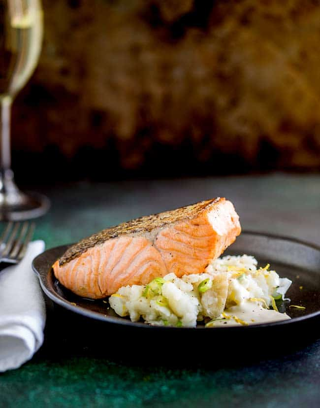 Pan Seared Salmon with Creamy Smashed Potatoes
