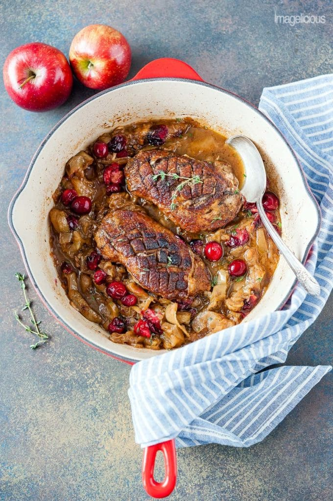 Braised Duck with Apples and Onions.