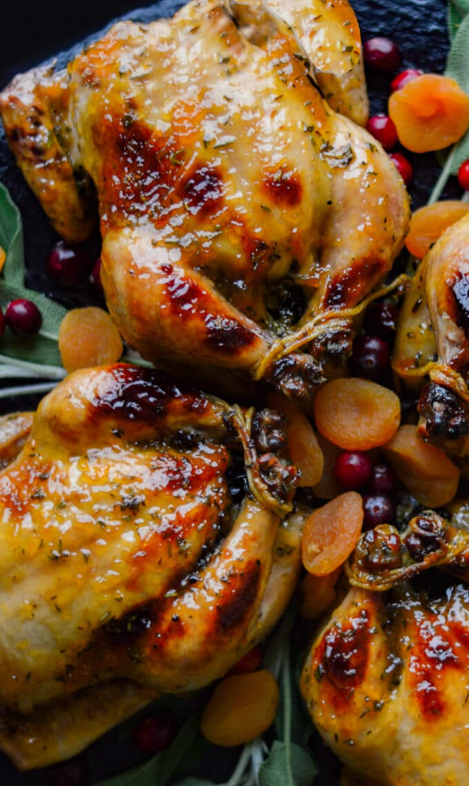 Glazed Stuffed Cornish Game Hens on a platter garnished with apricots.