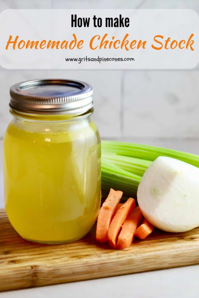 Making Homemade Chicken Stock is not only easier than you think, but it's also a great way to utilize leftover chicken and clean out your refrigerator vegetable bin. Don't waste your money buying chicken stock. This homemade chicken stock recipe is easy, delicious, and saves money! #chickenstock, #chickensoup, #chickenstockrecipe