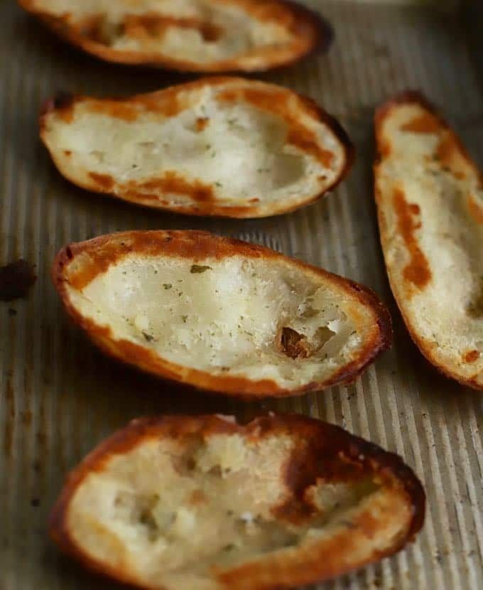 Baked potato skins right out of the oven without any toppings.