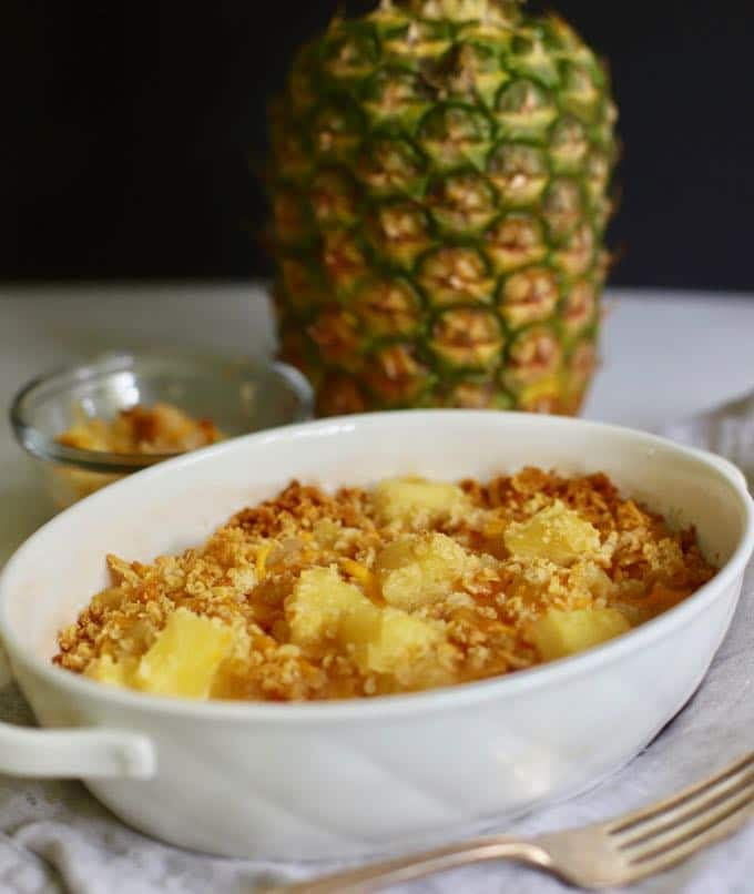 Southern Baked Pineapple Casserole in a white dish.