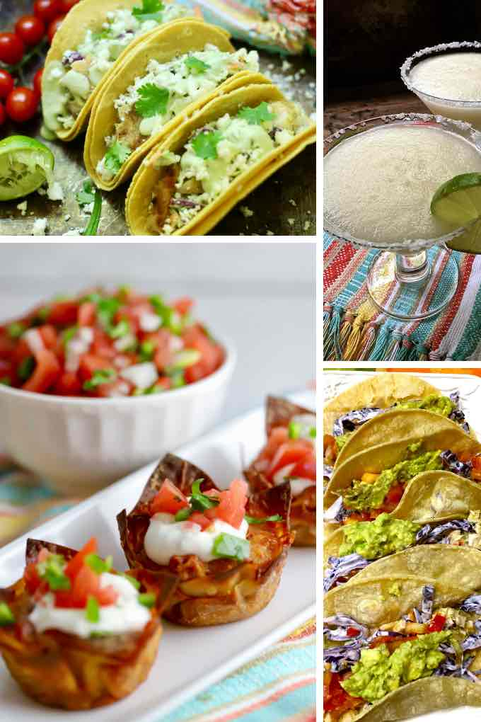 A collage of photos of Mexican dishes including tacos, and taco cups.