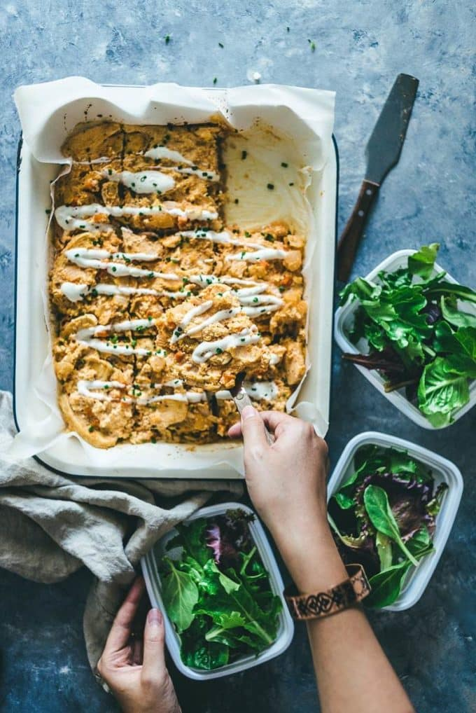 Whole 30 Baked Buffalo Chicken Casserole with salad.
