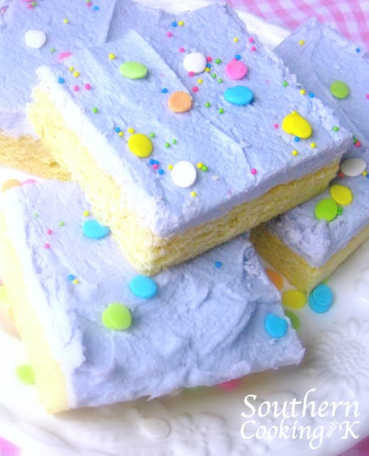 Sugar cookie bars with lavender icing and Easter sprinkles.