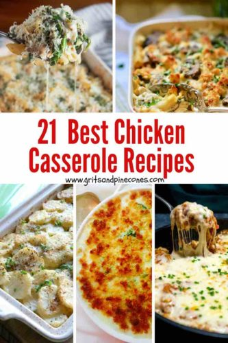Collage of chicken casserole images Pinterest pin.