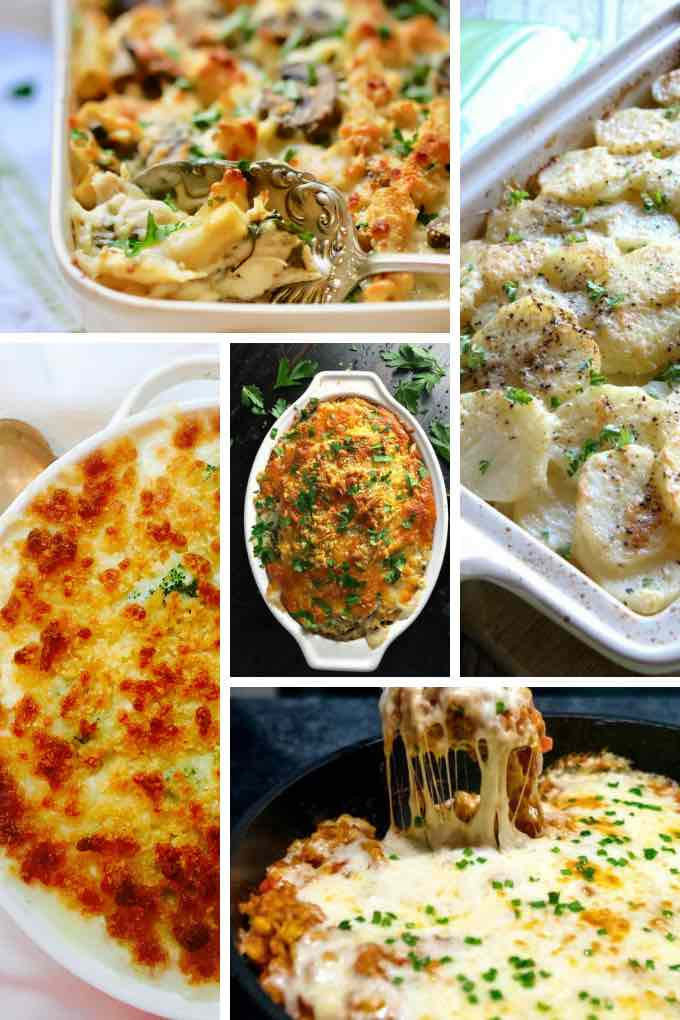 A collage of casserole images for a chicken casserole roundup.