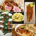 A collage of traditional Easter dishes including rack of lab=mb and potato salad.