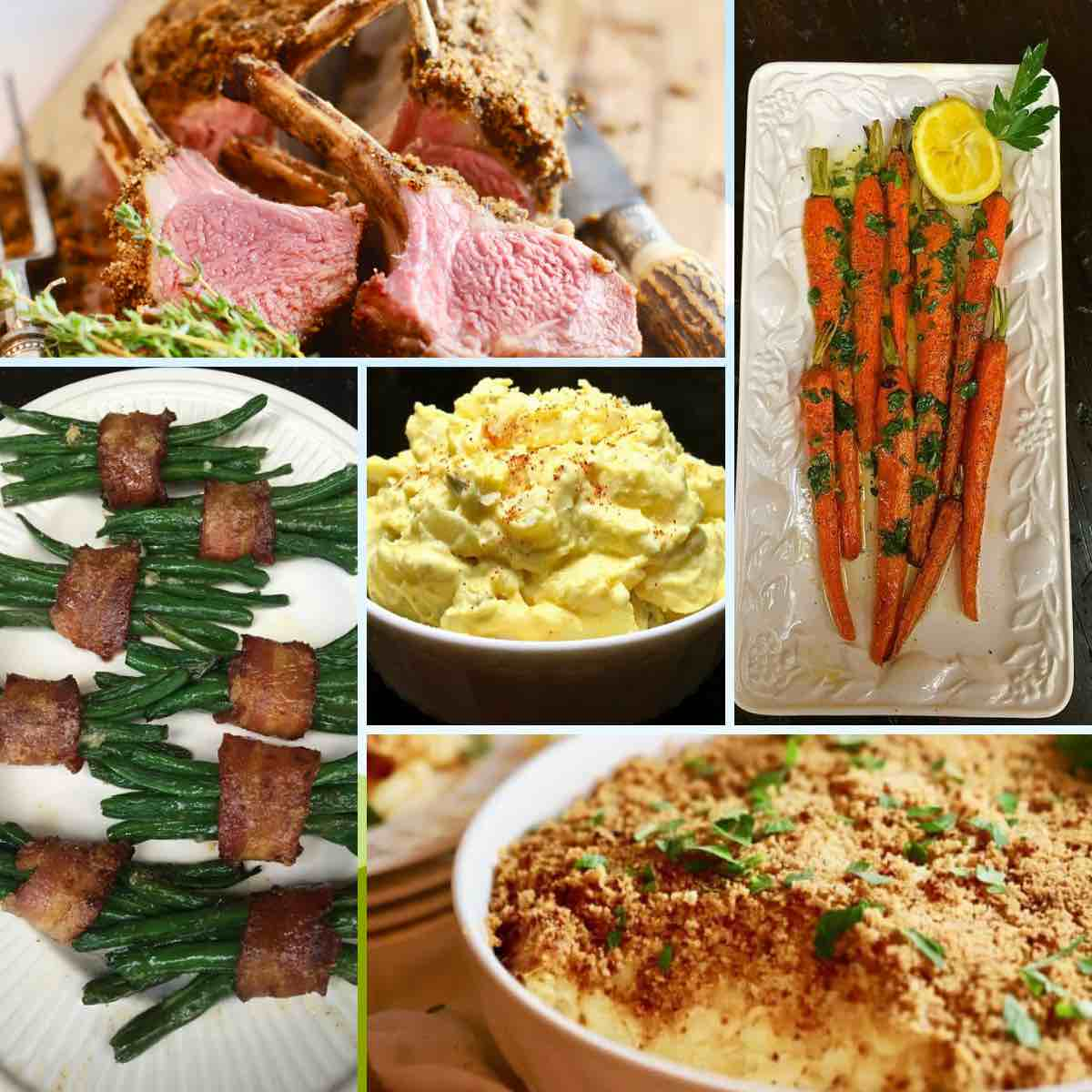 A collage of traditional Easter dishes including rack of lamb and potato salad.