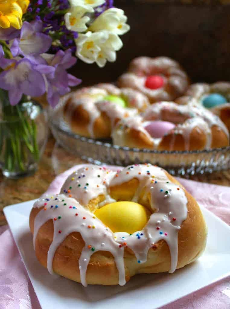Easter egg rings filled with different colors of Easter candy.