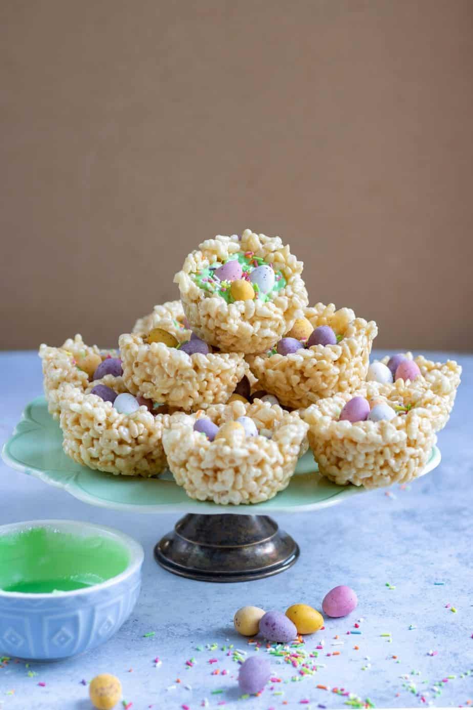Easter rice krispy egg nests full of candy.