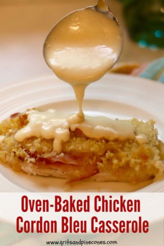 Easy Oven Baked Chicken Cordon Bleu Casserole Pinterest pin.