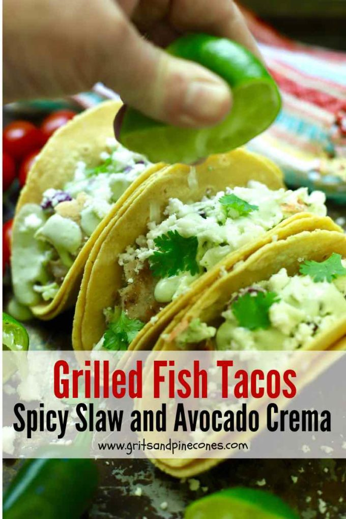 Grilled fish tacos Pinterest pin.