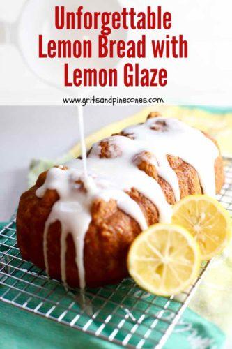 Lemon bread with lemon glaze Pinterest pin.
